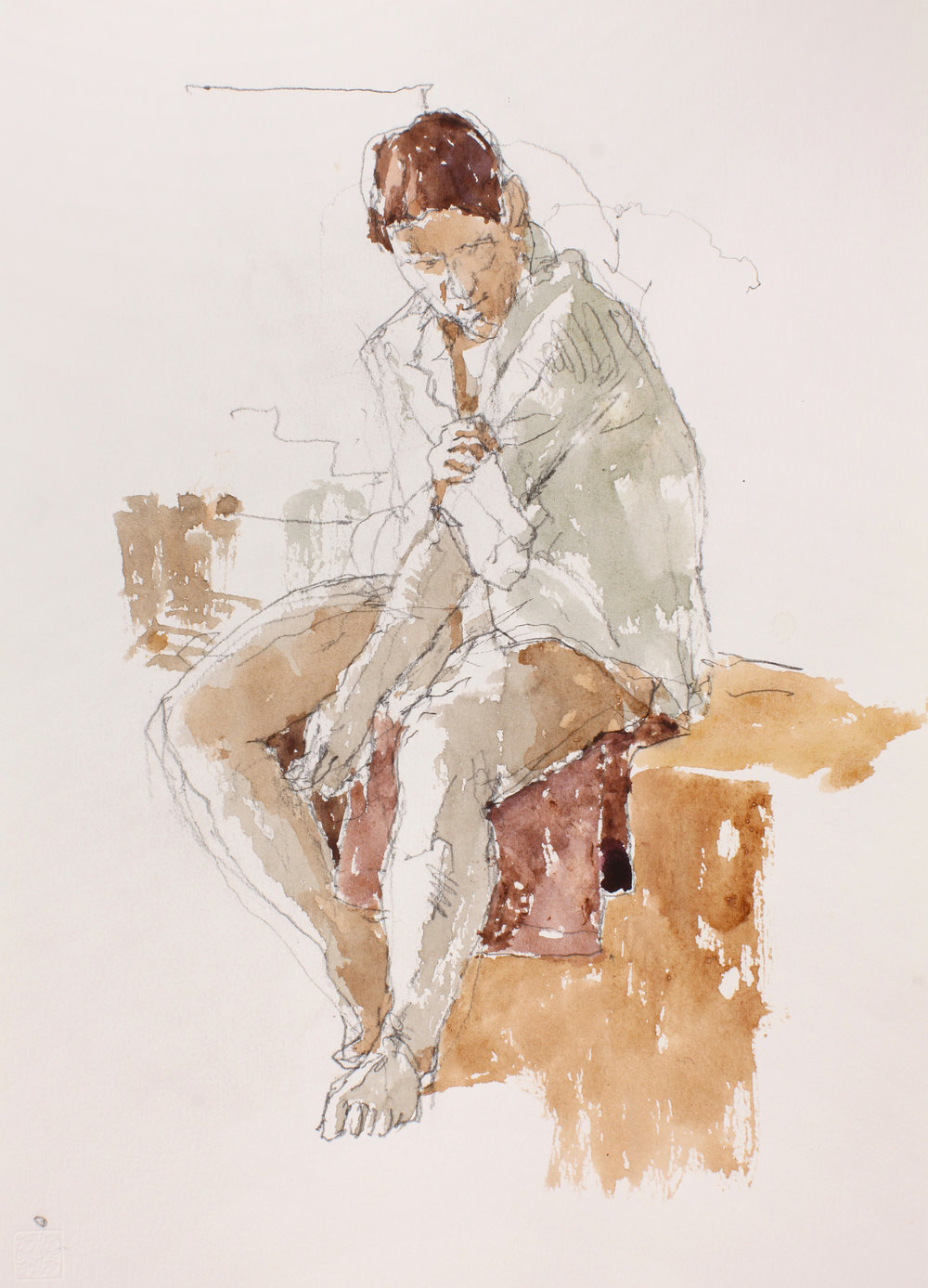2007_Figure_Adjusting_Sleeve_watercolour_and_pencil_on_paper_15x11in_WPF114.jpg