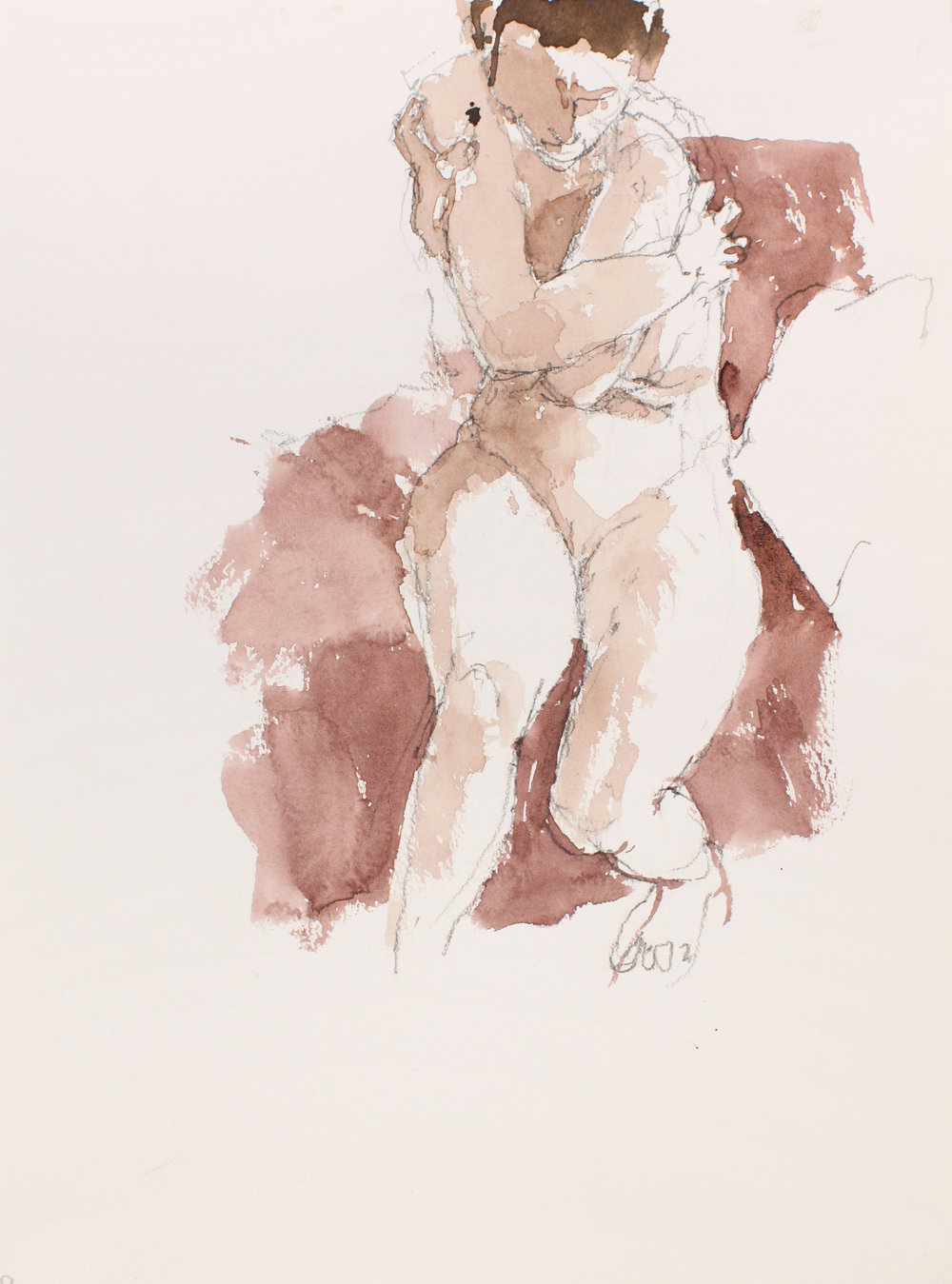 2007_Seated_Nude_with_Clasped_Arm_and_Head_Downwards_watercolour_and_pencil_on_paper_15x11in_WPF512.jpg