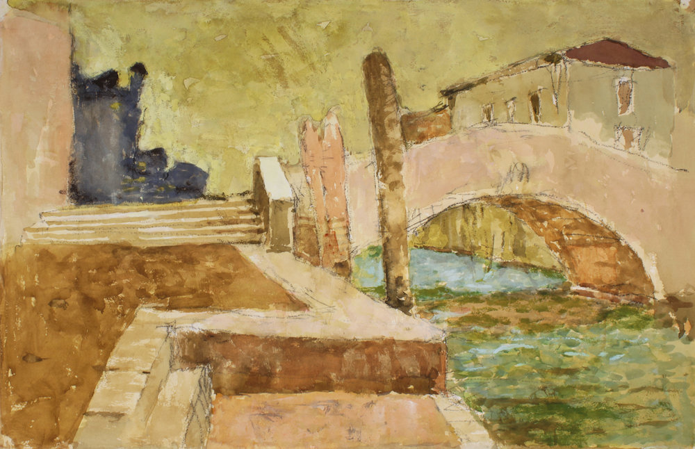 1990s_Bridge_in_Venice_watercolour_and_charcoal_on_paper_27x20in_WPF387.jpg