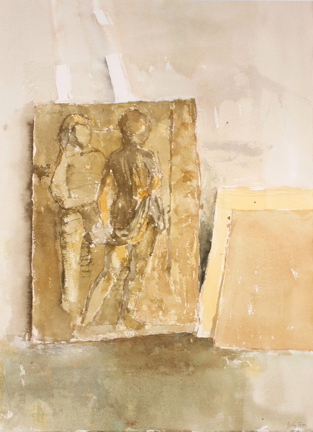 1990s_Relief_Sculpture_in_Studio_watercolour_on_paper_20x15in_WPF648.jpg