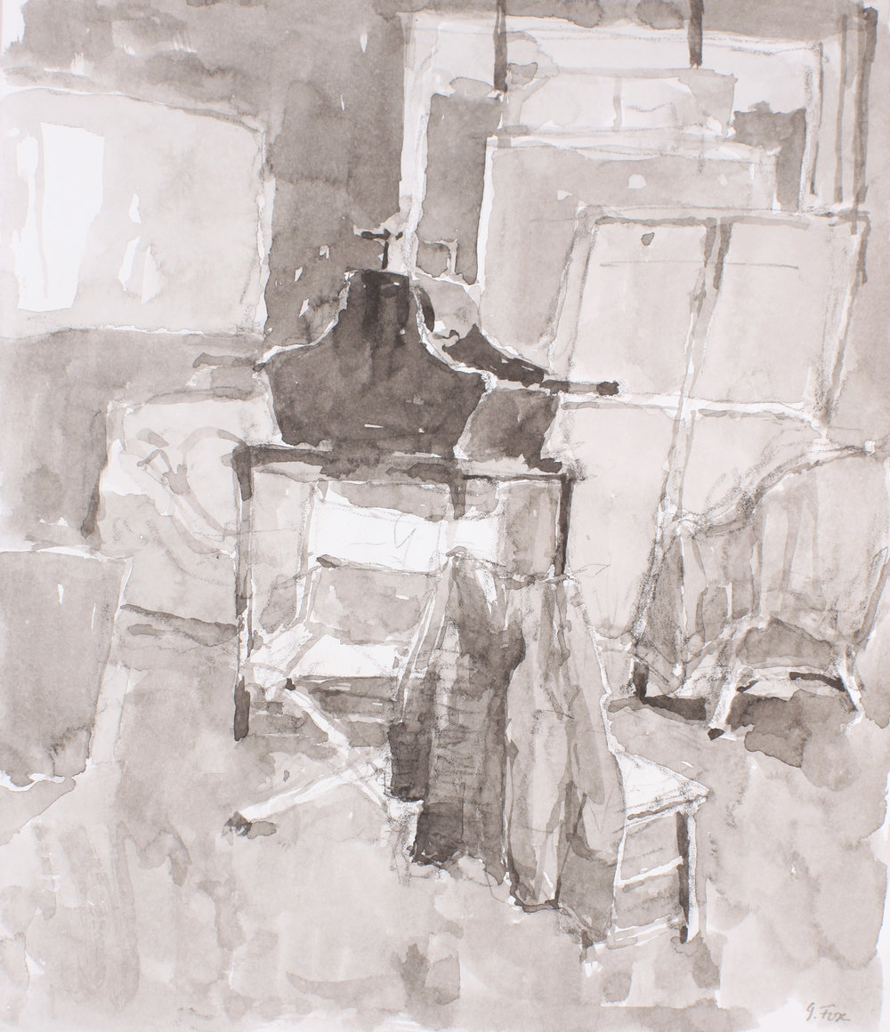 1990s_Studio_Interior_with_Etching_Press_and_Stretchers_watercolour_and_charcoal_on_paper_13x11in_WPF656.jpg