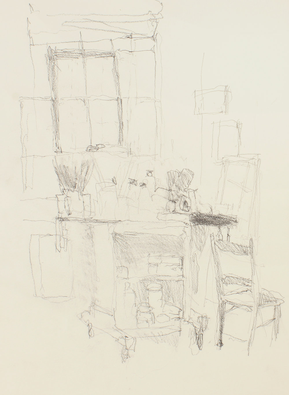 1990s_Studio_with_Table_Painting_Supplies_and_chair_pencil_on_paper_15x11in_WPF112.jpg