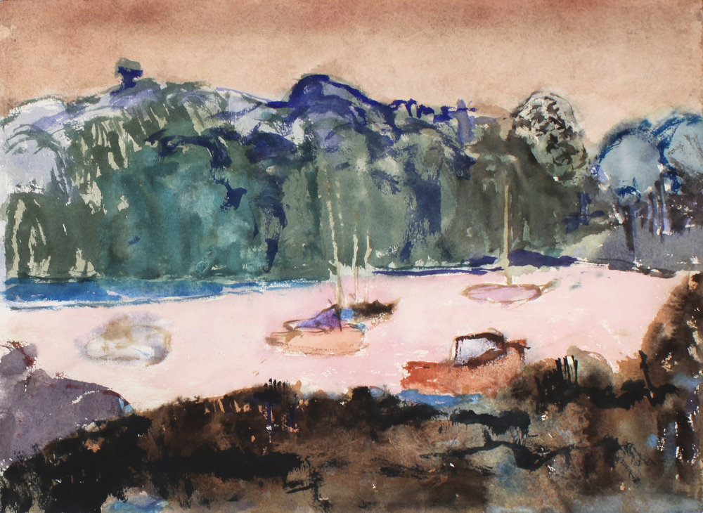 1992_Boats_in_Pink_Water_Maine_watercolour_on_paper_11x15in_WPF668.jpg