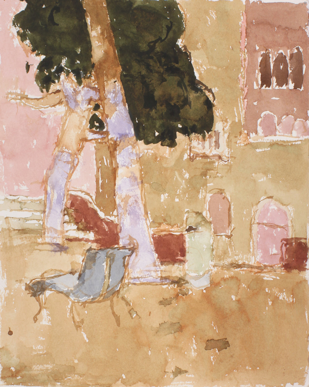 1994_Campo_Dei_Gesuiti_with_Blue_Bench_watercolour_on_paper_14x11in_WPF302.jpg