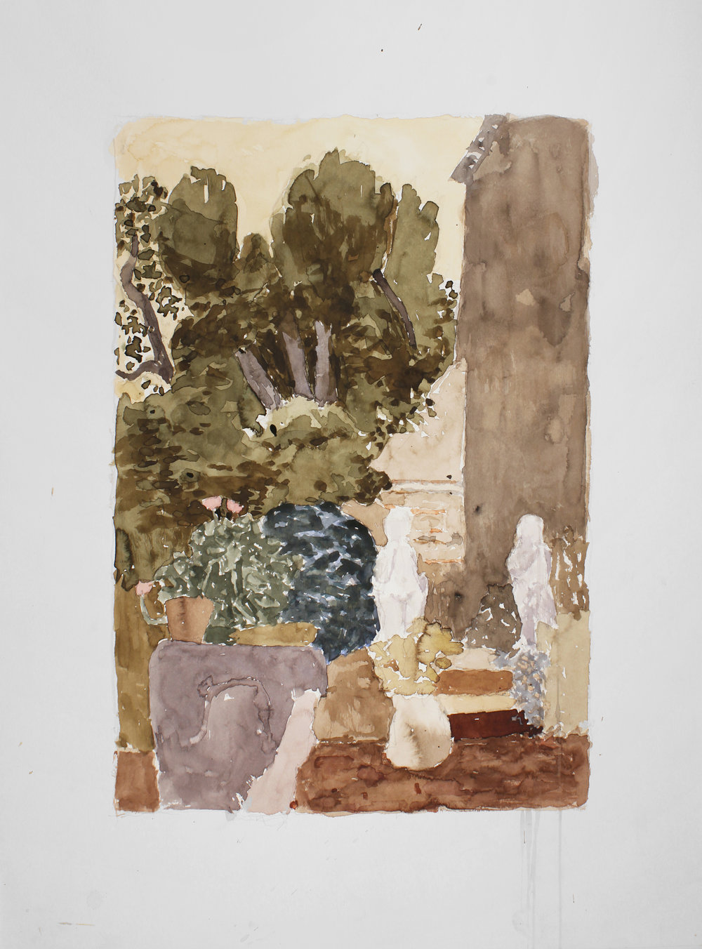 1997_Habsburg_Garden_with_Two_Sculptures_Venice_watercolour_and_pencil_on_paper_30x22in_WPF388.jpg