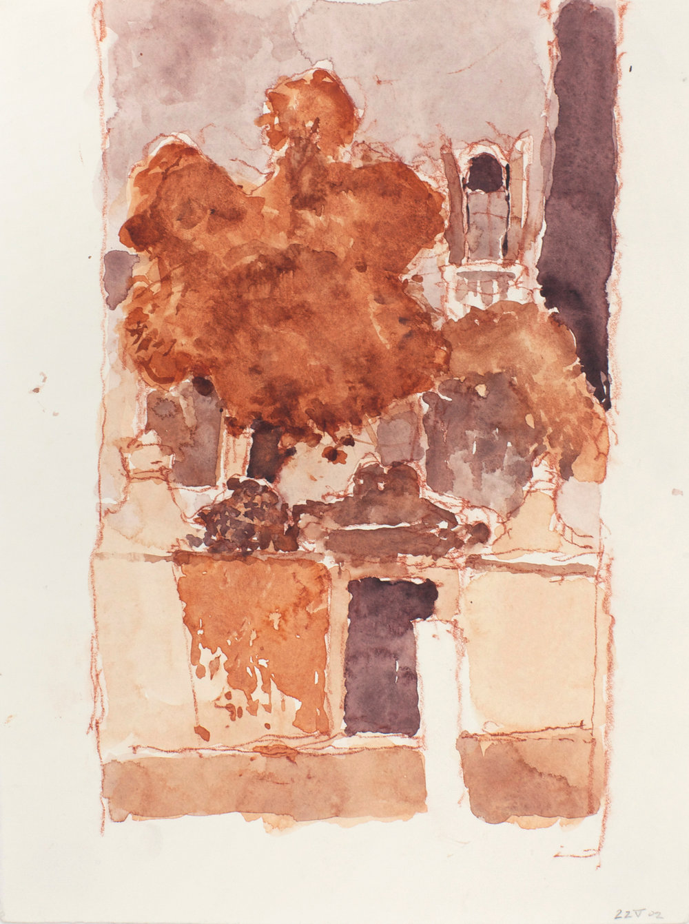 2002_Santa_Ternita_Red_and_Grey_watercolour_and_red_conte_on_paper_15x11in_38x28cm_WPF336.jpg