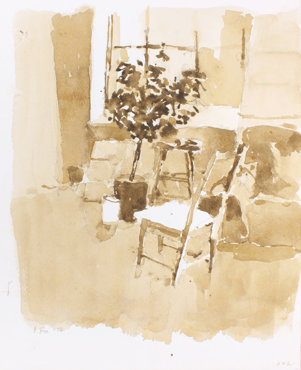 2002_Studio_Interior_with_Chair_and_Plant_watercolour_and_pencil_on_paper_14x11in_WPF639.jpg