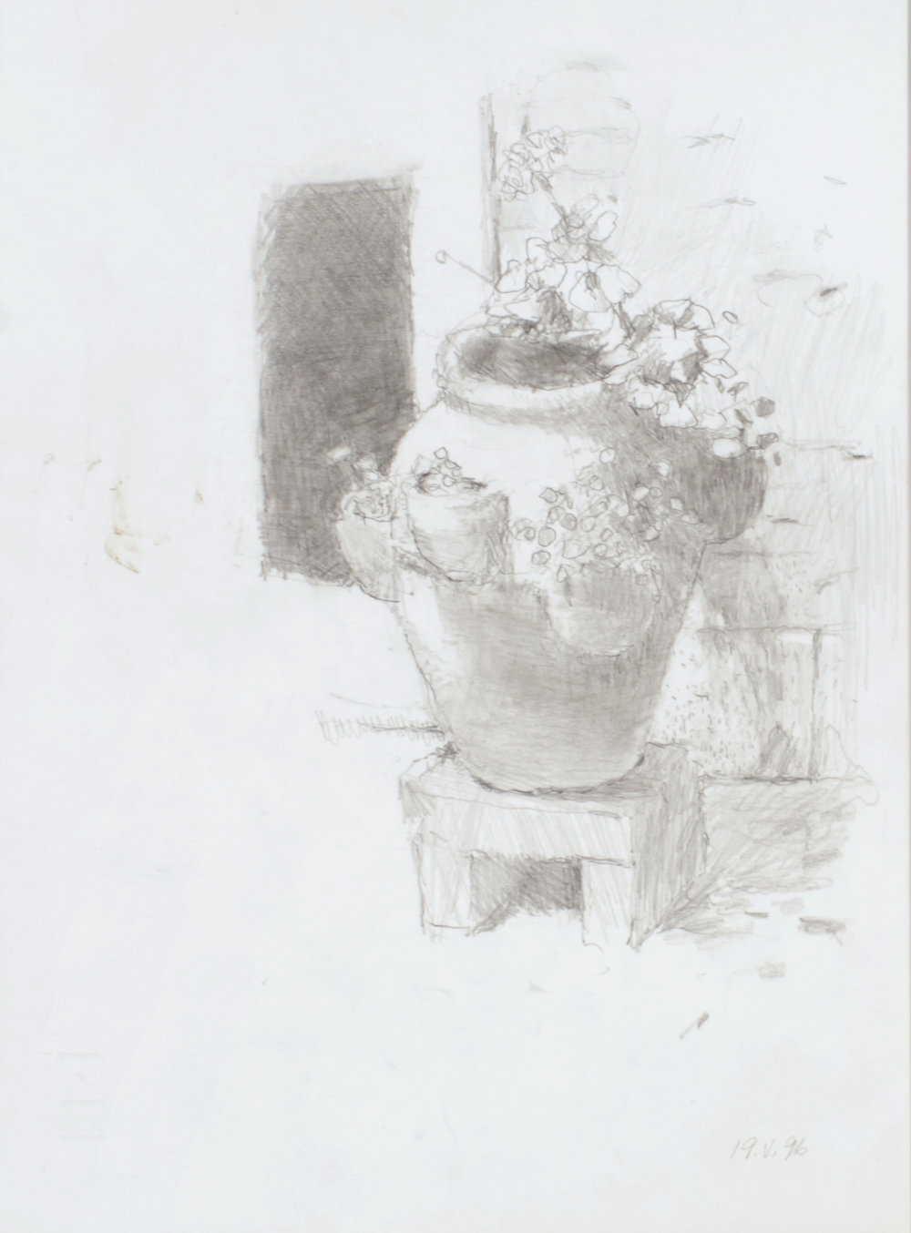 1996_Flower_Pot_in_Venice_Courtyard_pencil_on_paper_13x10in_WPF069.jpg