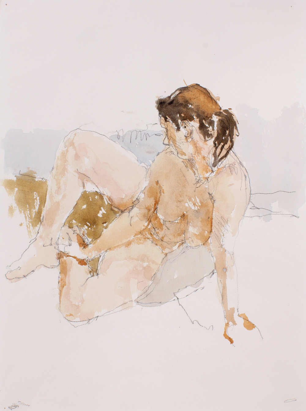 Seated Nude with Splayed Legs in Semi Profile
