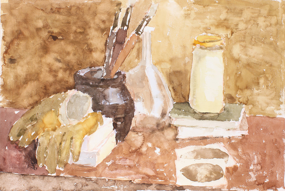 Still life with Gloves and Brushes