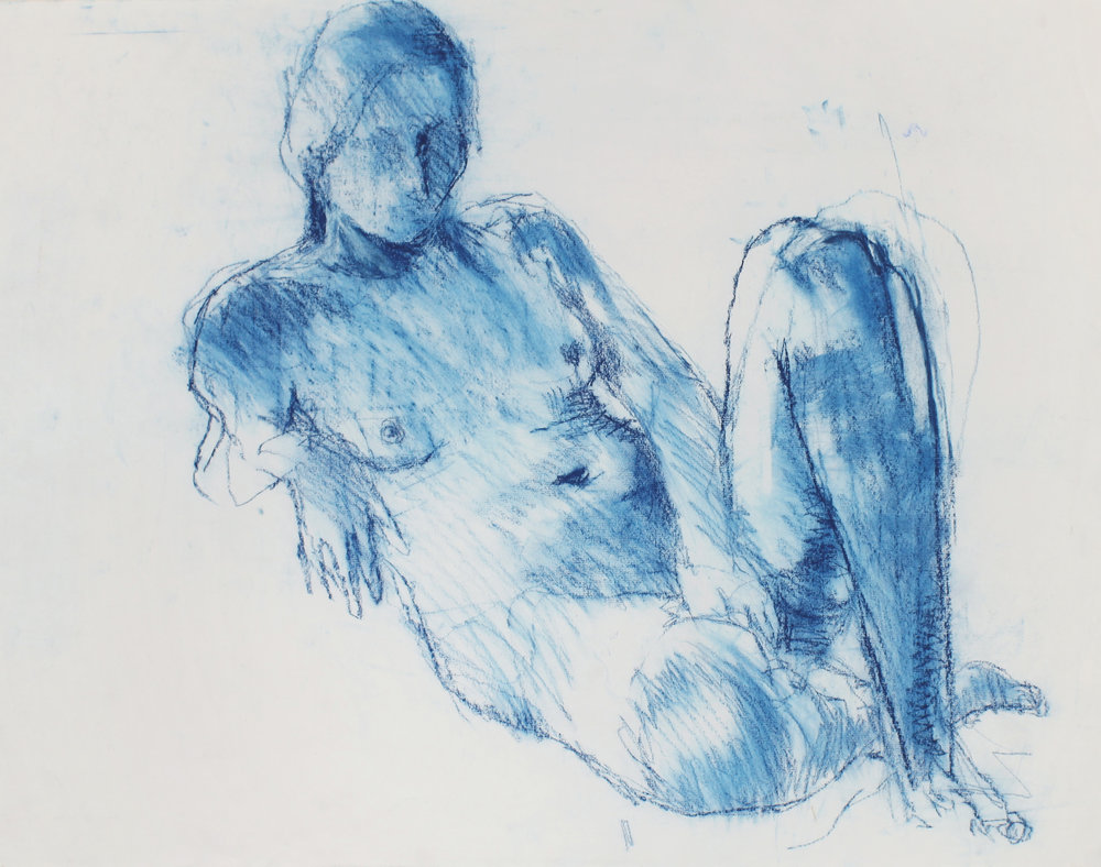 Reclining Nude with Raised Leg (Blue)