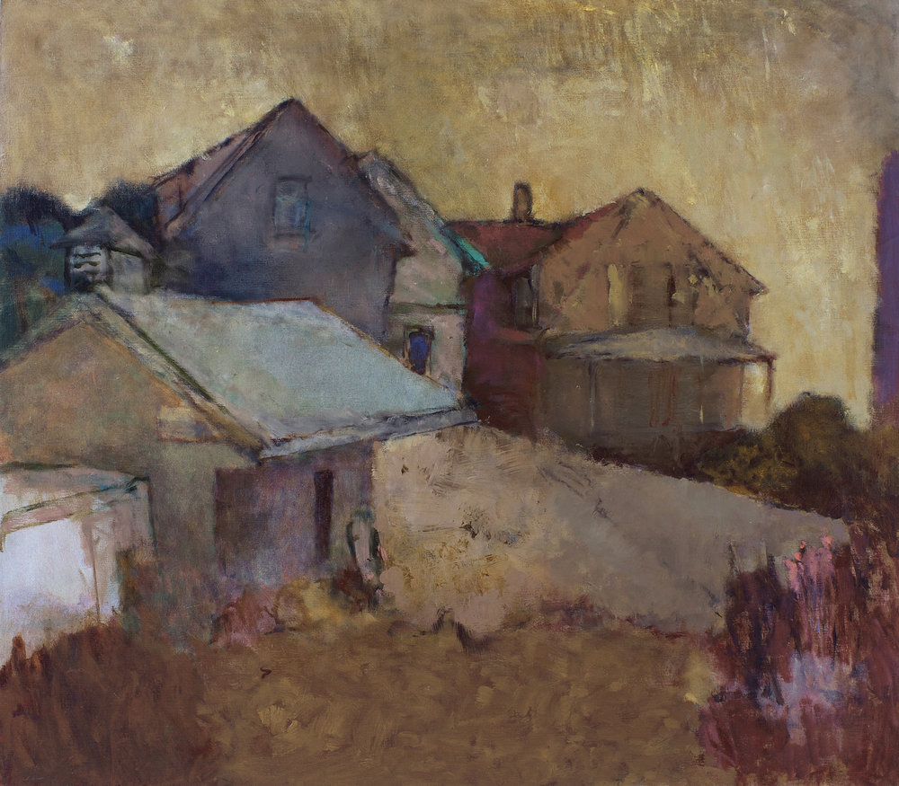 Maine I  1991 oil on linen 5x40in PF429  In the 1990s, John Fox spent time around Damariscotta, Maine. More intrigued by the farmlands than the seacoast, he inhabited this landscape with ramshackle buildings on one side and tilled fields on the other. By adding to and subtracting from what was really there, he turns it into a world of mauves, blues and ochres, warmed by golden summer light.