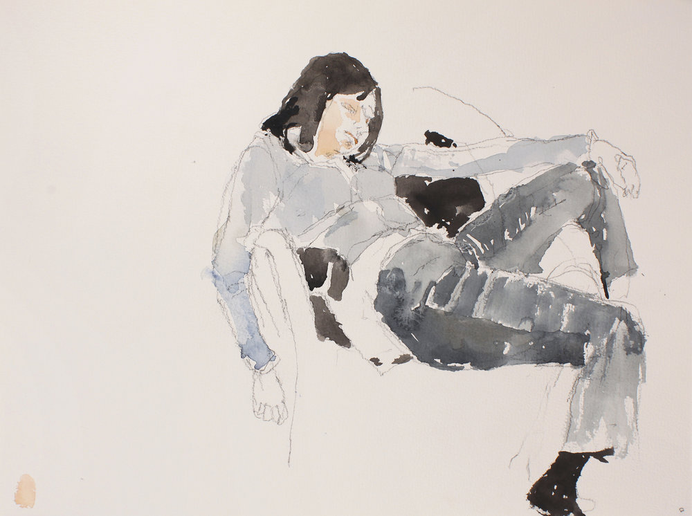 Seated Woman in Jeans