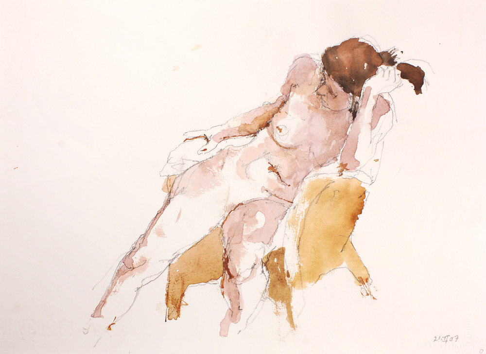 Seated Nude Holding Hair