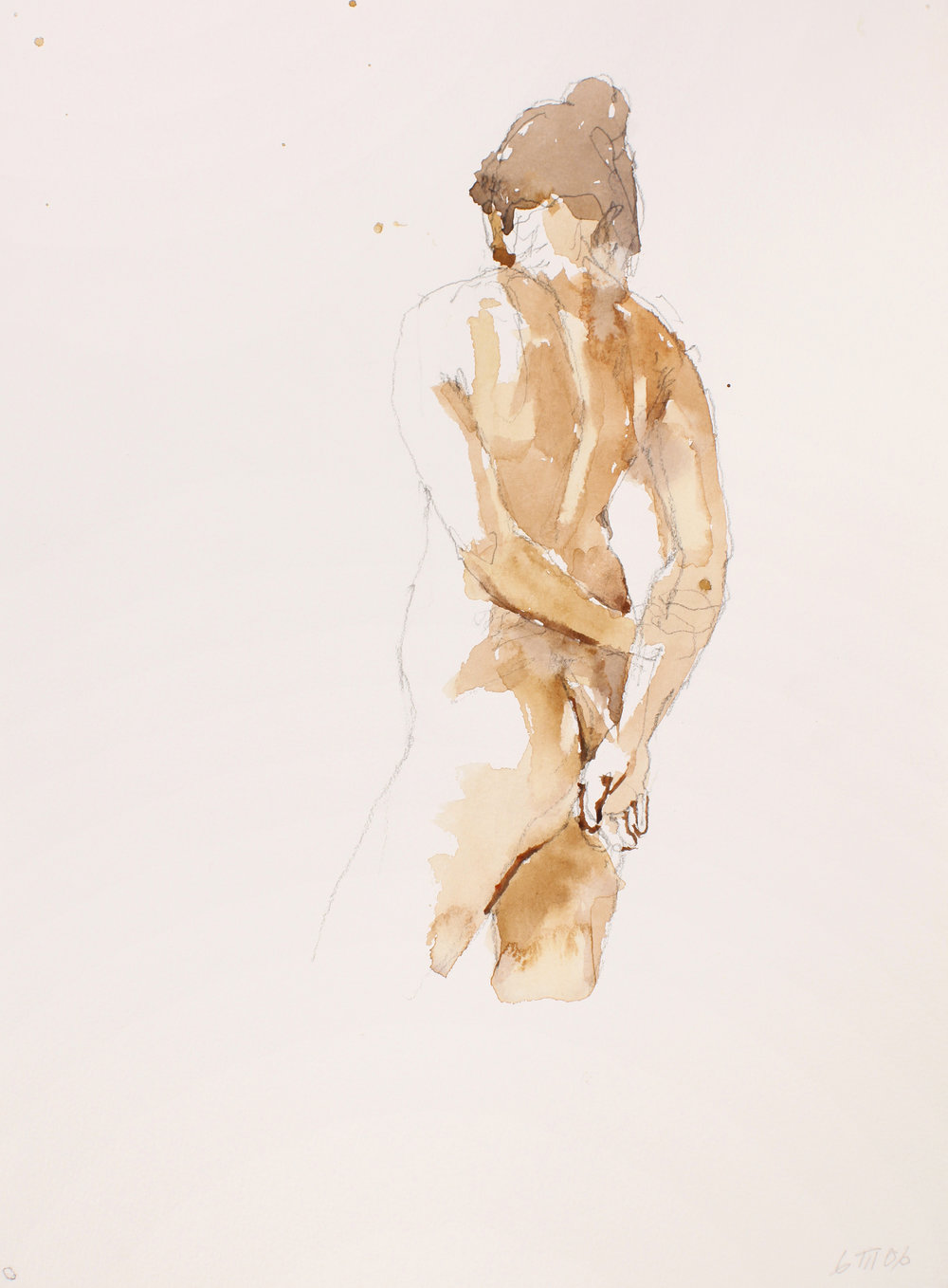 Standing Nude with Clasped Hands on Back