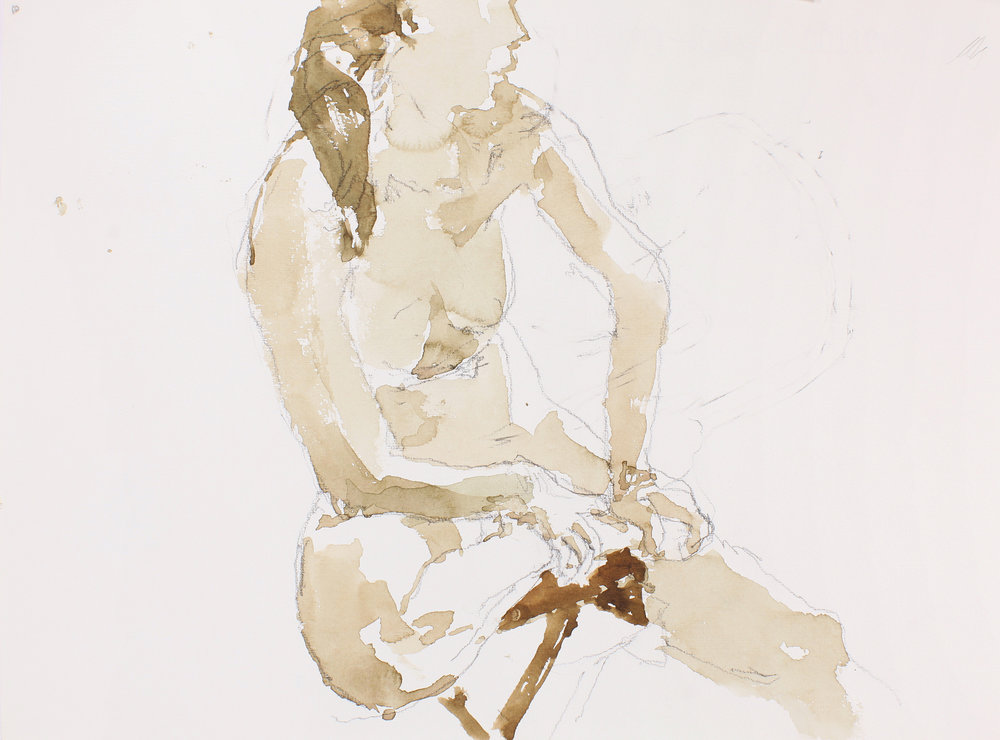 Seated Nude Holding Ankle Profile