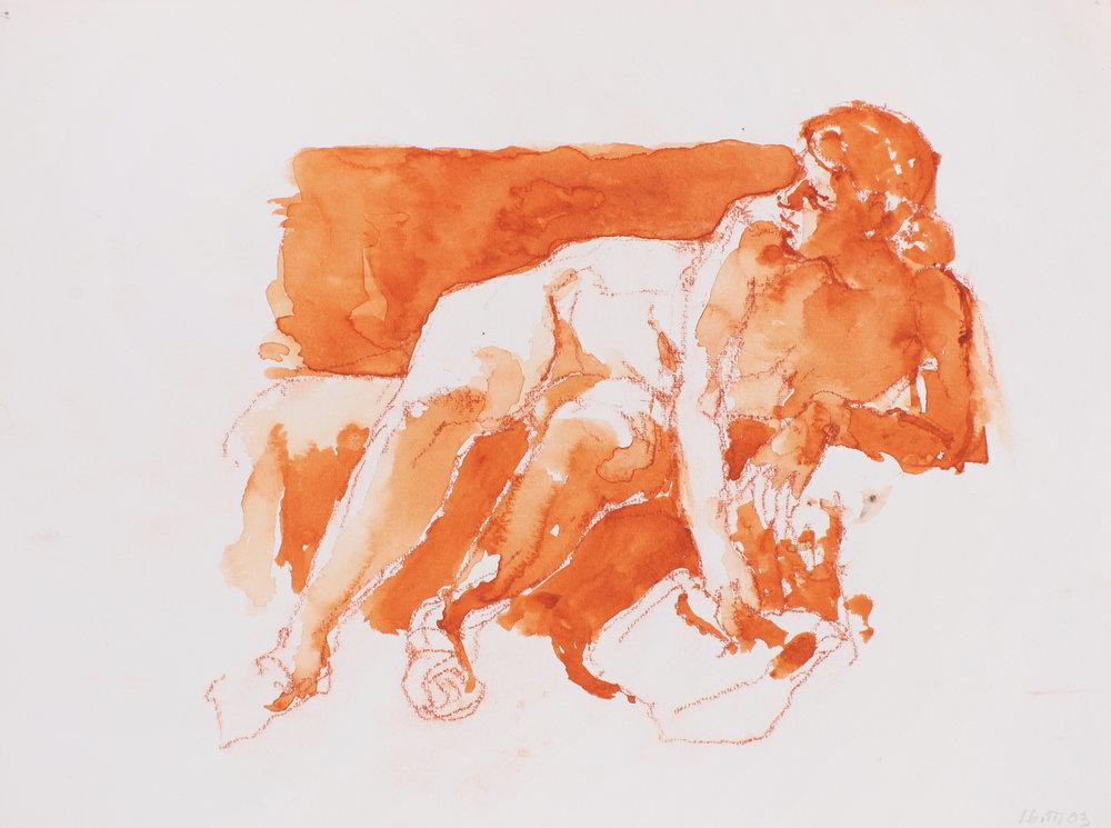 Nude on Sofa Holding Purse