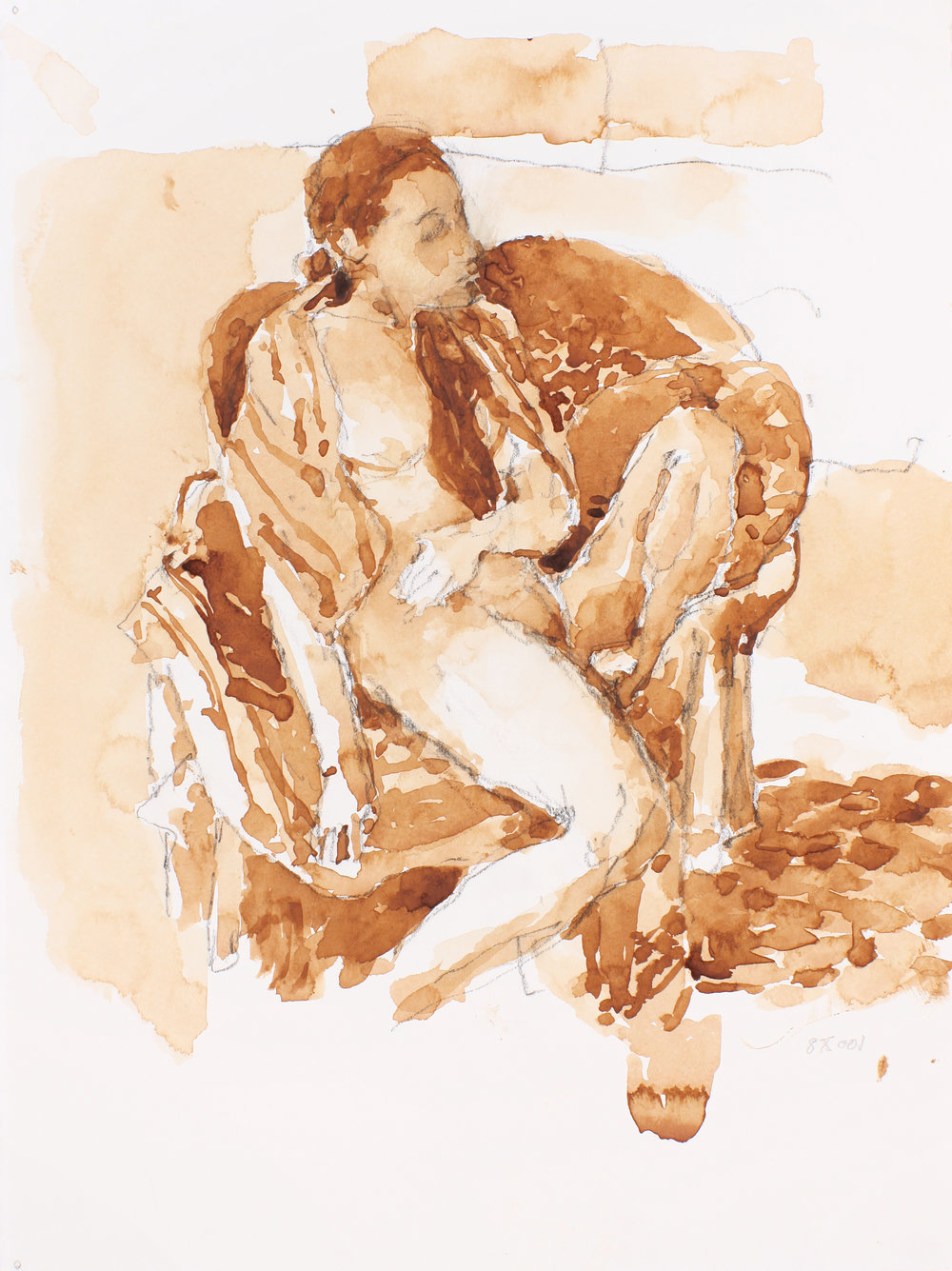 Nude in Armchair with Scarf Around Shoulders