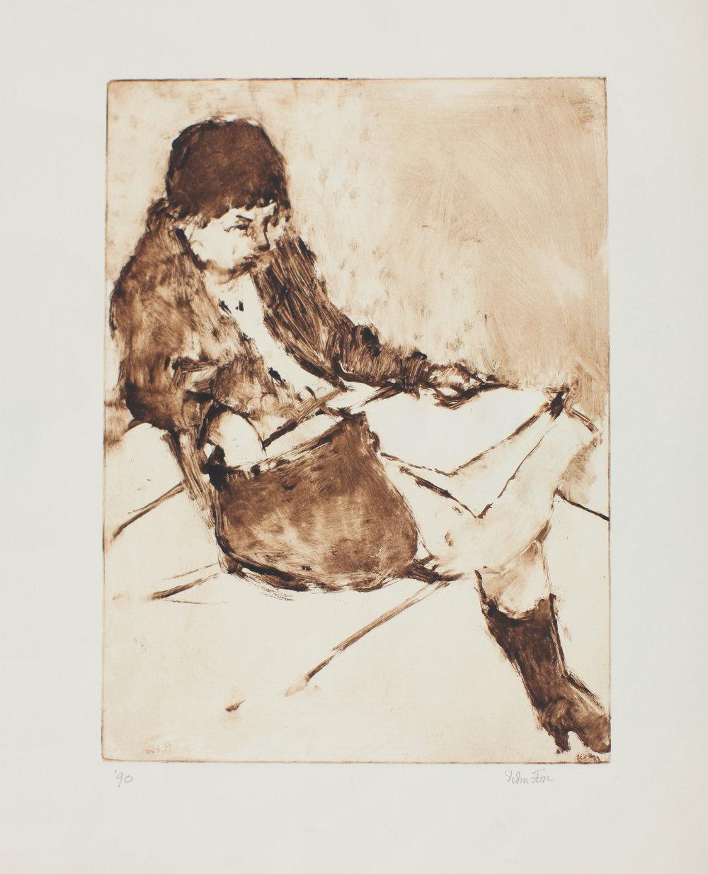 Sandra Reading Newspaper (dark coat)