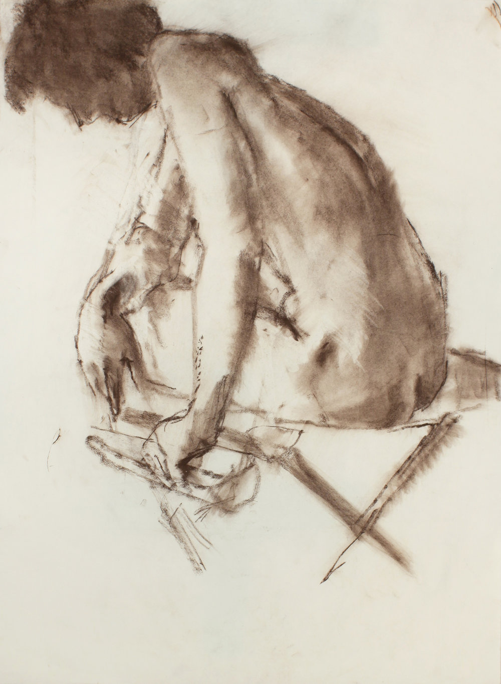 Nude Seated on Folding Chair From the Back