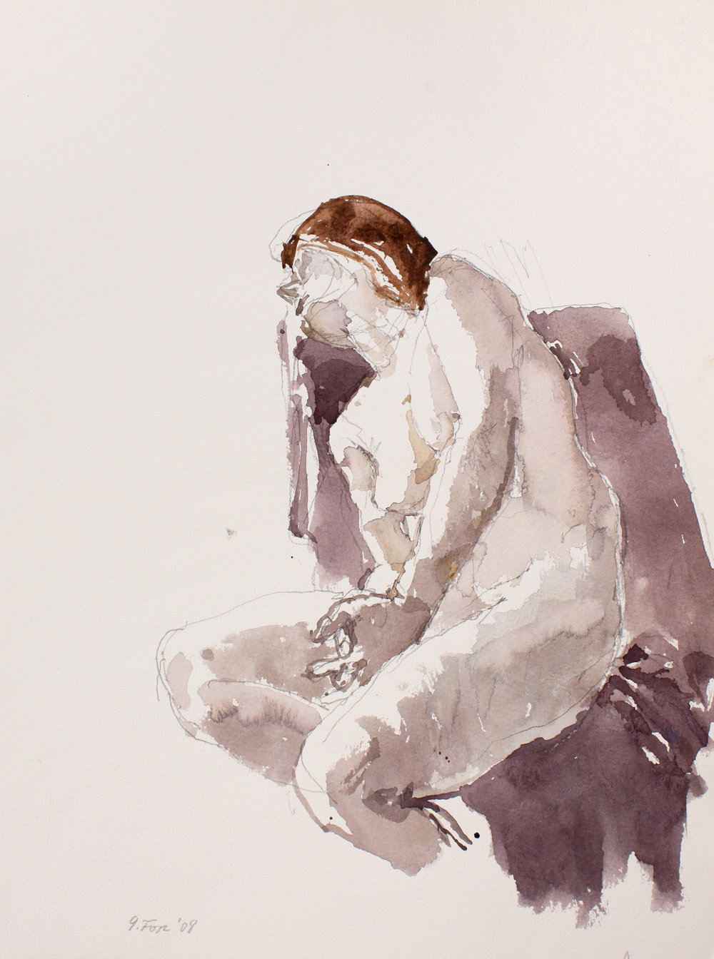 Seated Nude with Head Reclining on Chair Back