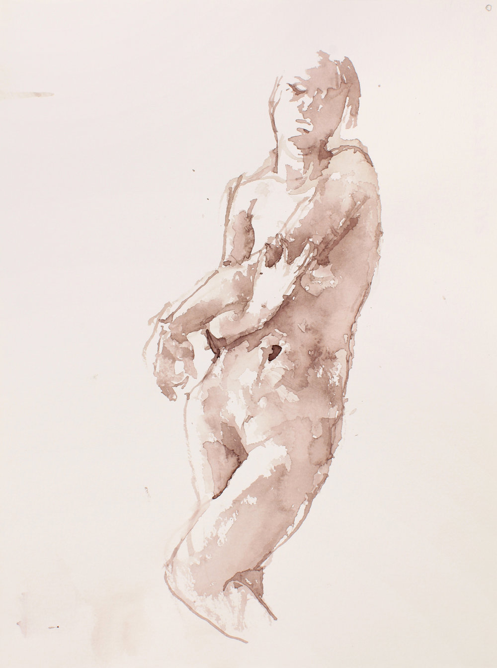 Standing Nude with Crossed Right Leg and Arms to Left