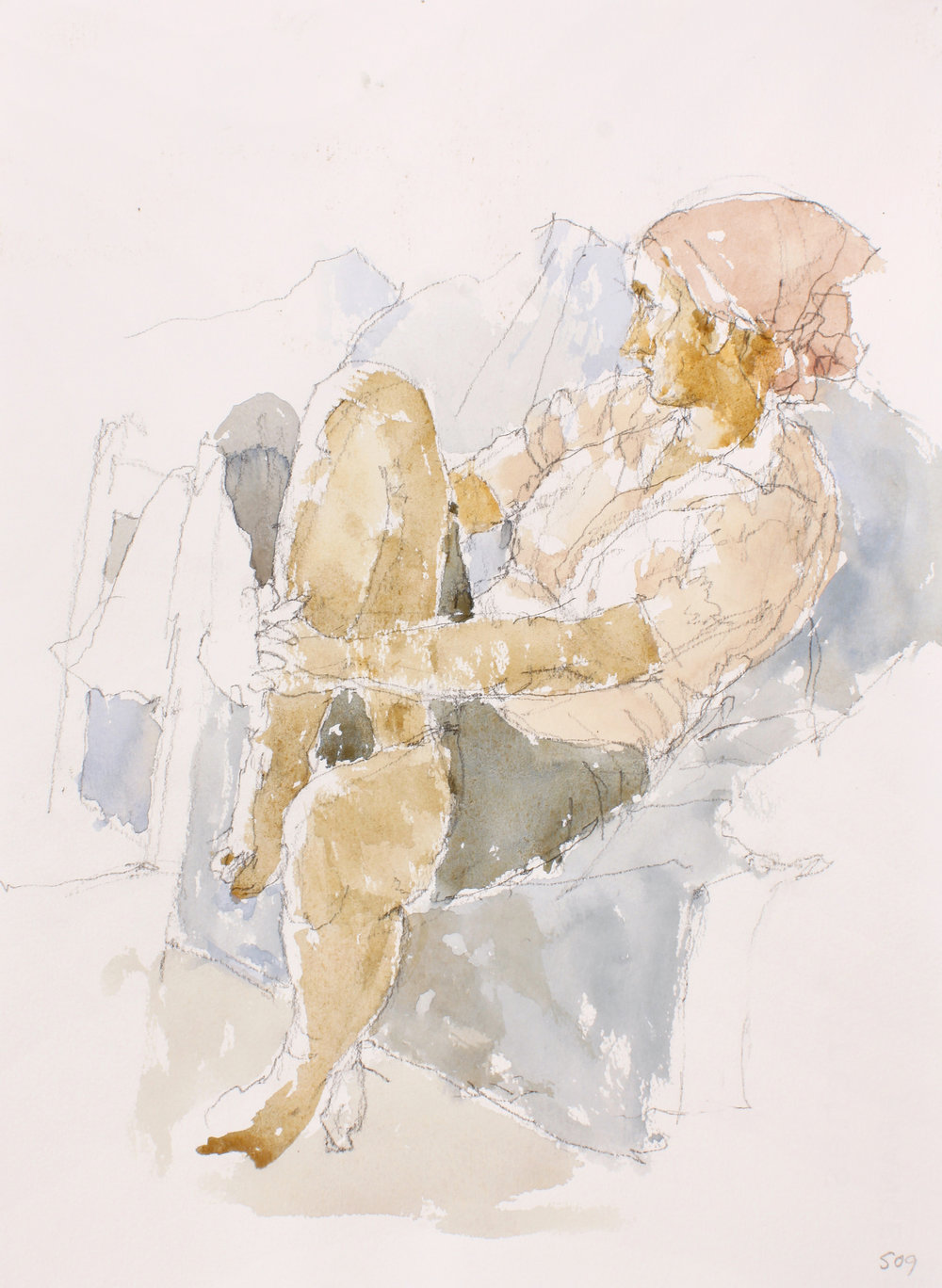 Woman with Scarf Holding Knee