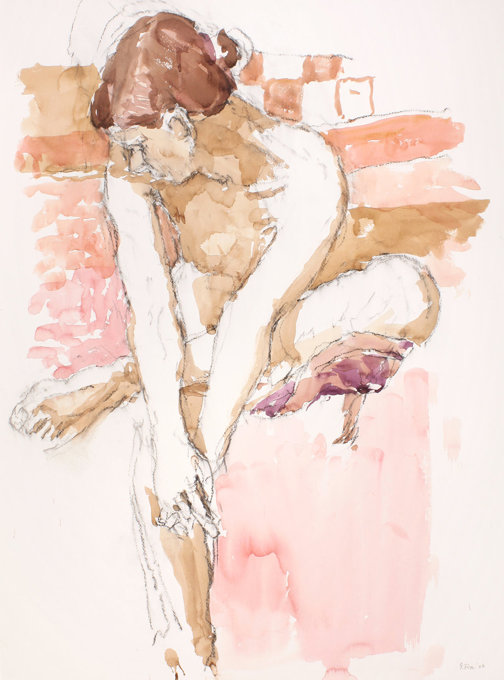 Seated Nude with Leg Crossed and Head to Left against Pink Cloth