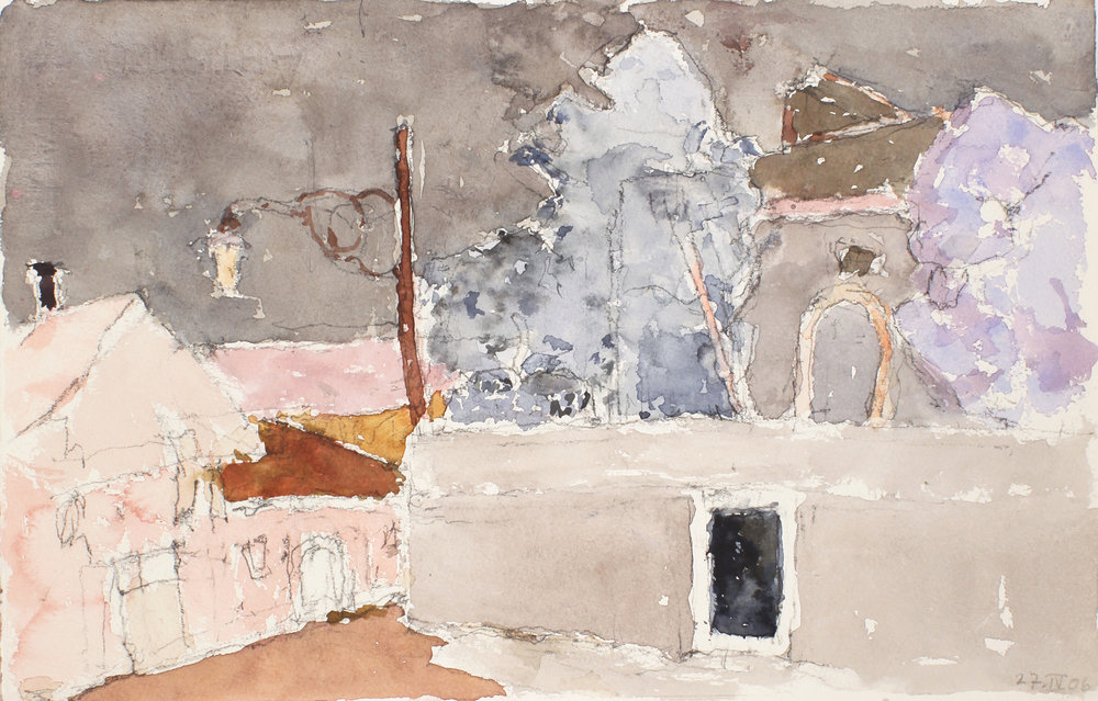 2006_Buildings_and_Walled_Garden_Venice_watercolour_and_pencil_on_paper_10x15in_WPF247.jpg