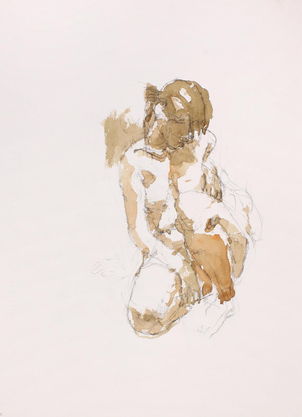 Kneeling Nude with Head Downwards