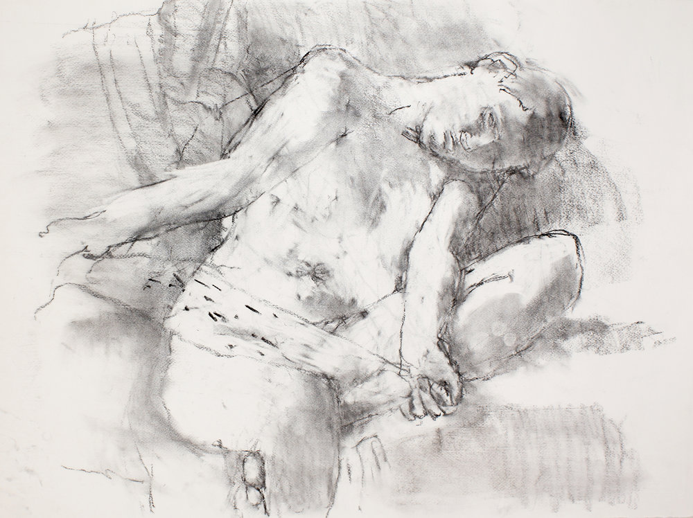 Seated Nude with Turned Head Holding Scarf