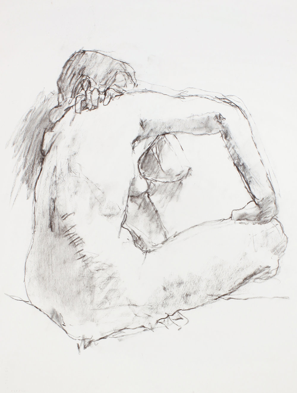 Seated Nude with Hand on Knee from Back