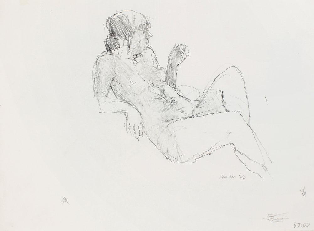 Reclining Nude with Raised Arm and Leg