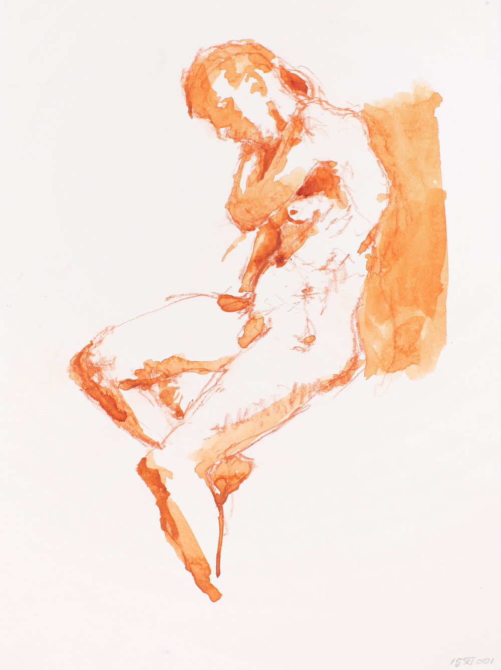 Seated Nude with Crossed Arms in Profile