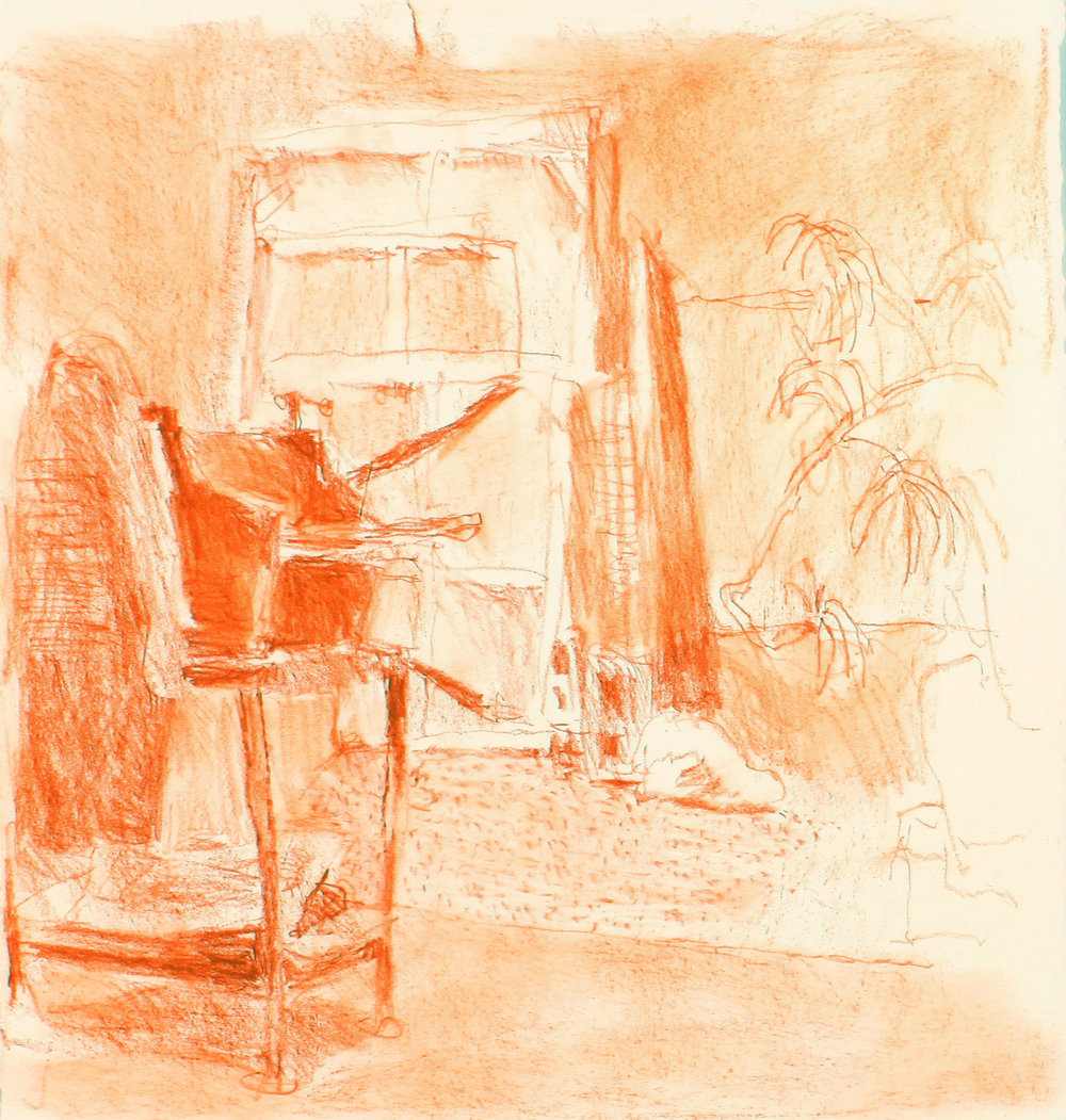 red conté on paper