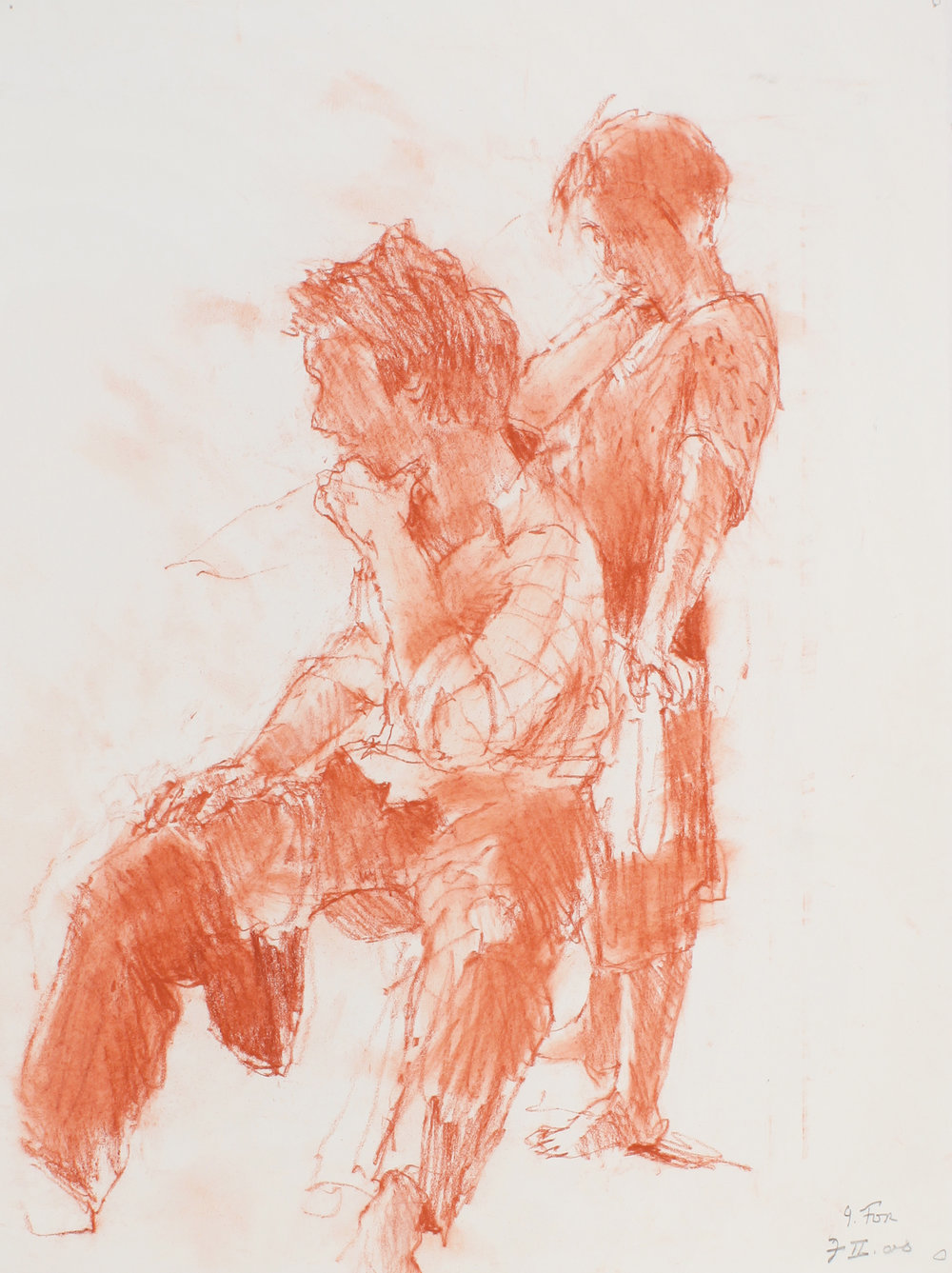 Female Figure Standing Behind Male Facing Left