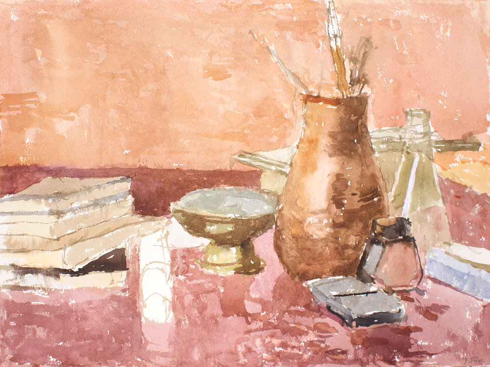 1998_Still_life_with_Bronze_and_Clay_Vase_with_Brushes_watercolour_on_paper_13x17in_WPF637.jpg