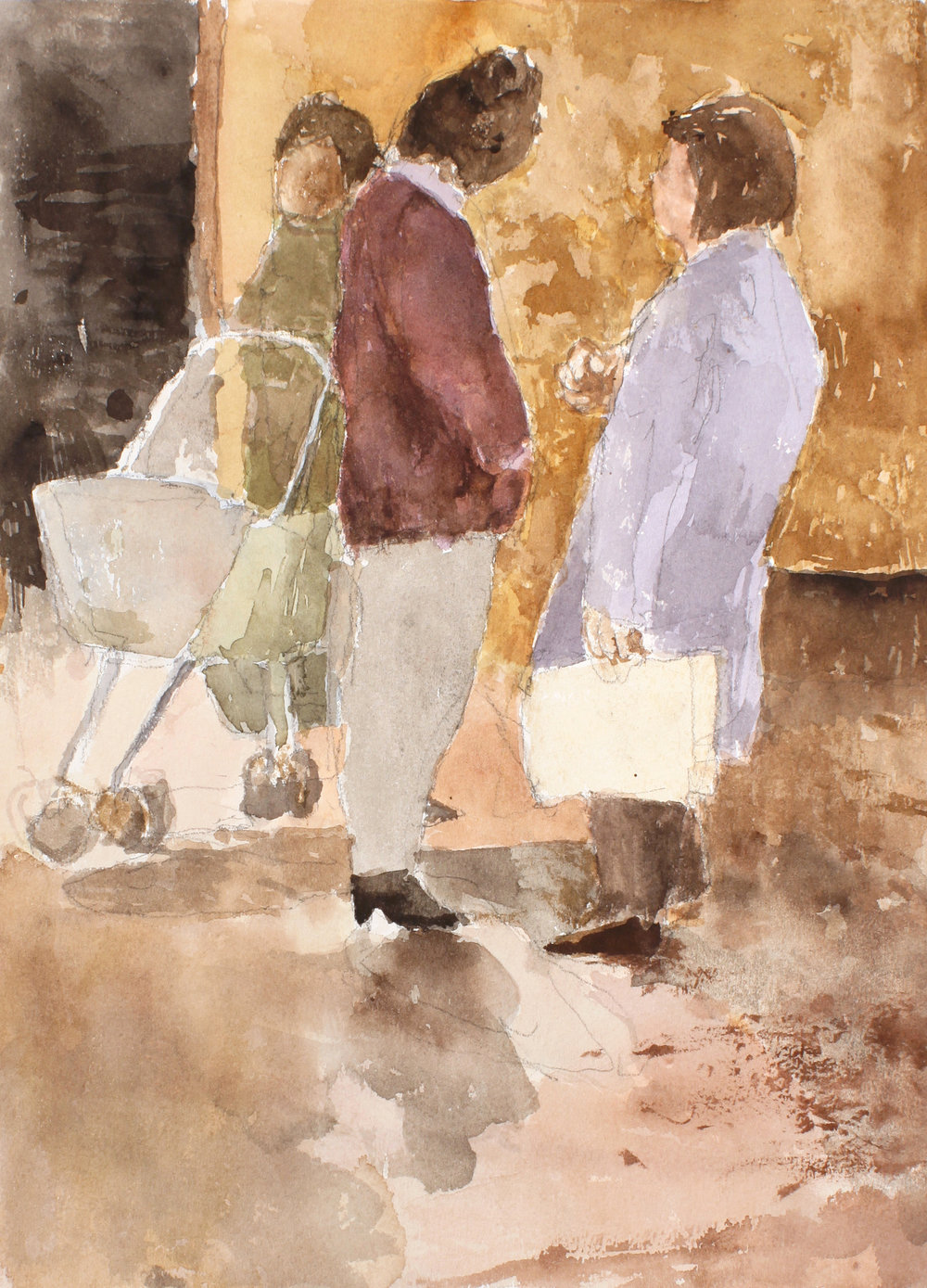 1994_Women_with_Pram_watercolour_on_paper_15x11in_WPF644.jpg