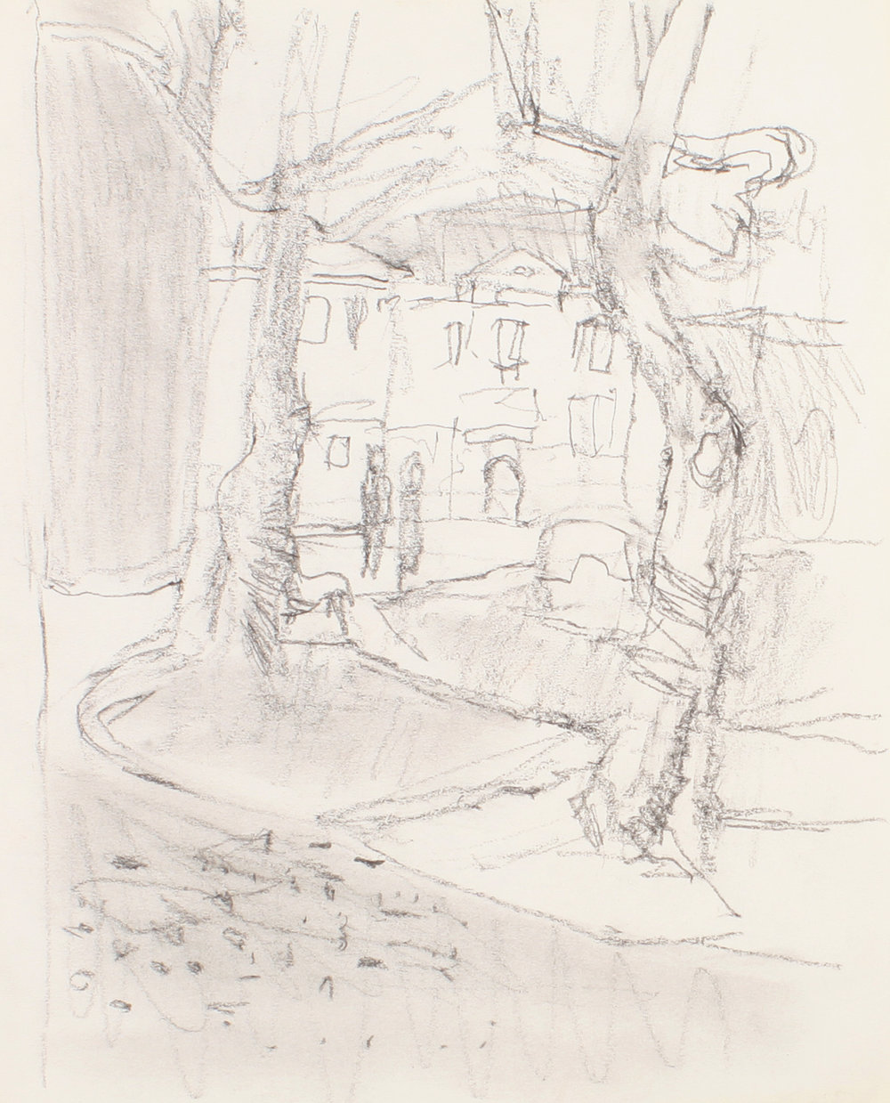 1990s_View_Between_Two_Trees_Venice_pencil_on_paper_10x8in_WPF076.jpg