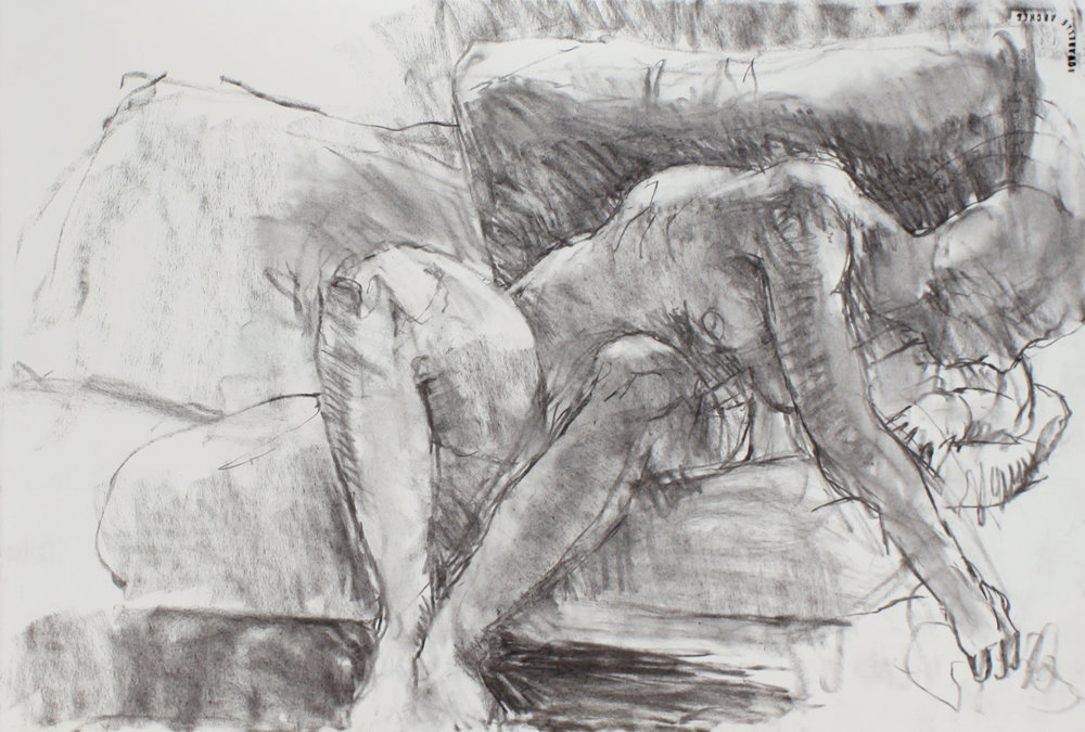 Seated male Nude Leaning on Sofa