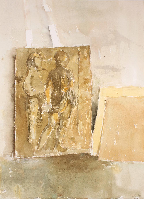 1990s_Relief_Sculpture_in_Studio_watercolour_on_paper_20x15in_WPF648.jpg