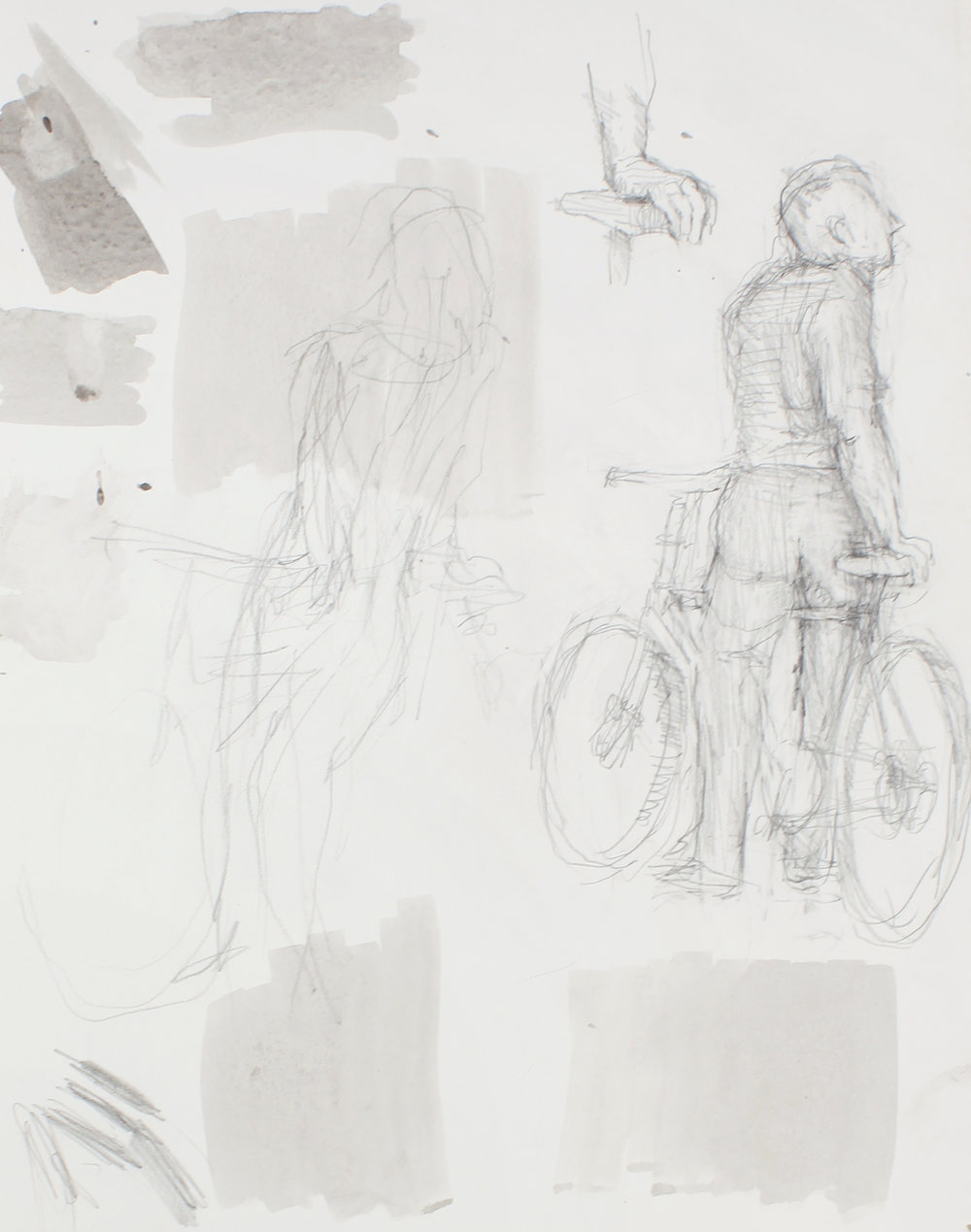 1989_Study_of_Man_with_Bicycle_From_Back_and_Detail_pencil_on_paper_15x11in_WPF626.jpg