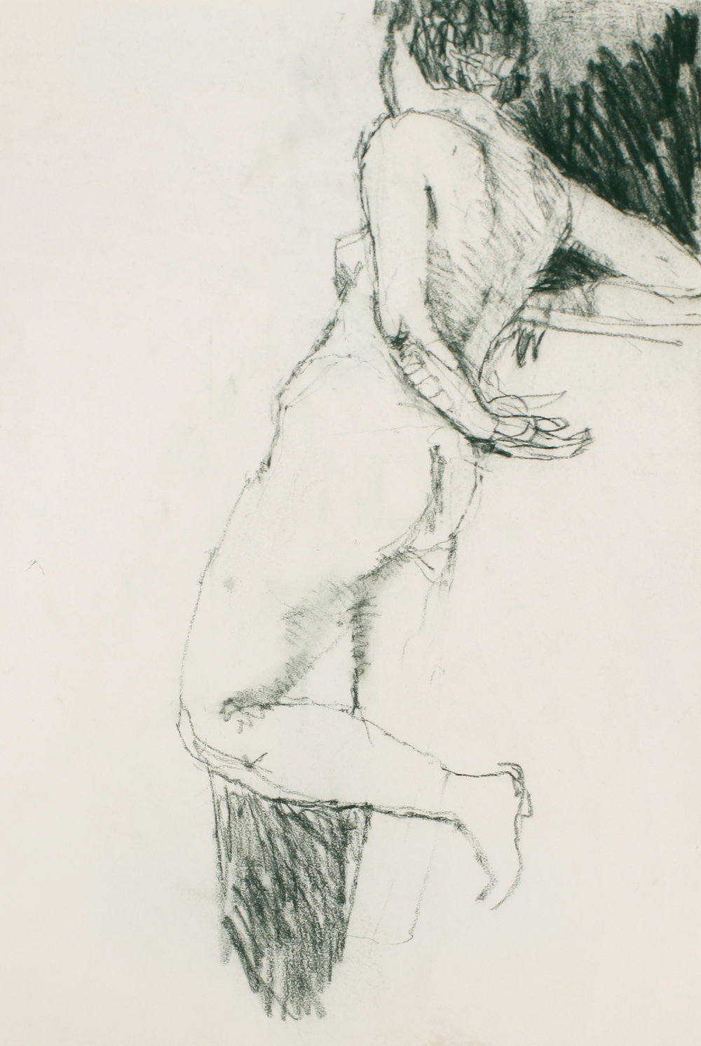 1980s_Standing_Nude_in_Profile_with_Raised_Leg_Leaning_Back_green_pastel_on_paper_22x15in_WPF473.jpg