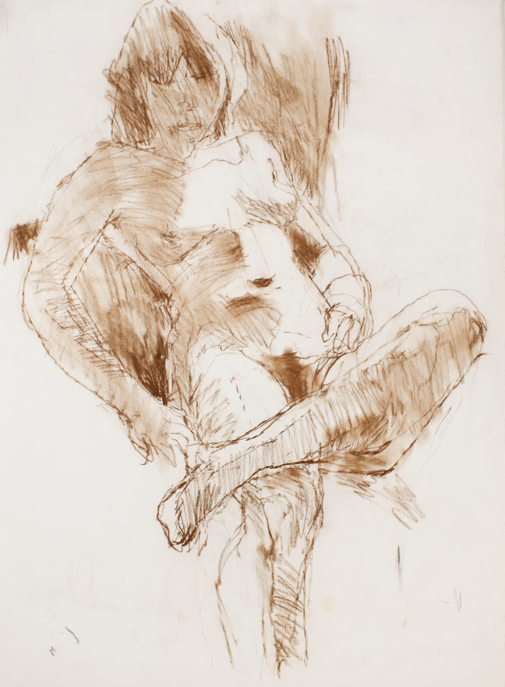 1980s_Reclining_Nude_with_Leg_Crossed_Over_Thigh_brown_pastel_on_paper_30x22in_WPF468.jpg