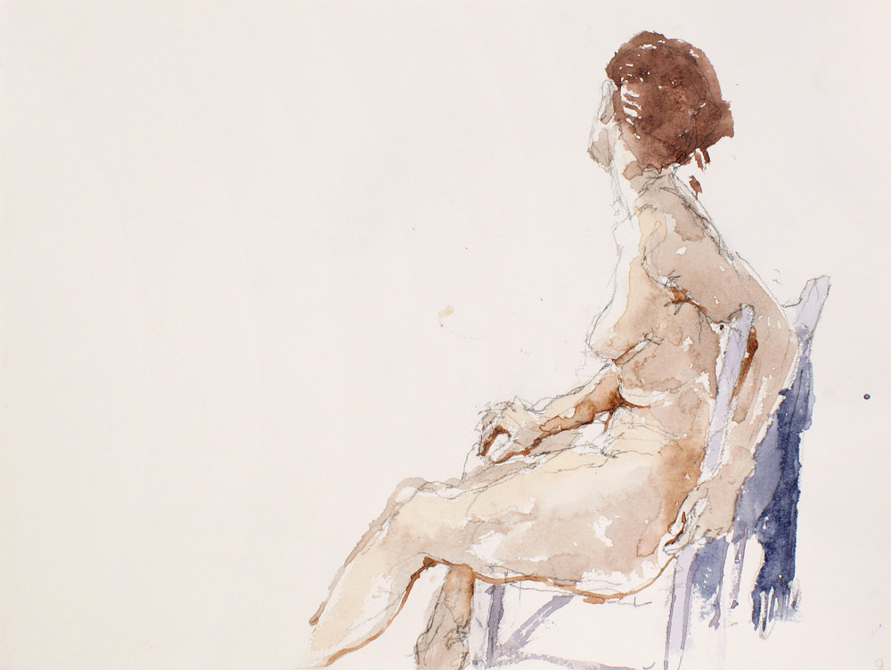 Seated Nude in Profile with Blue Scarf on Chair Back