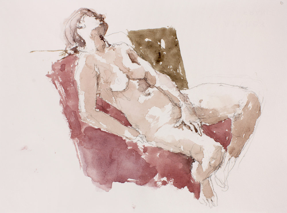 Seated Nude on Pink Cloth