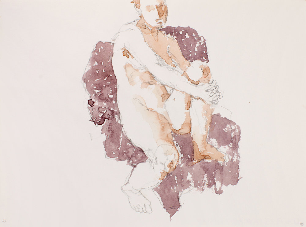 Nude on Mauve Chair with Clasped Right Leg