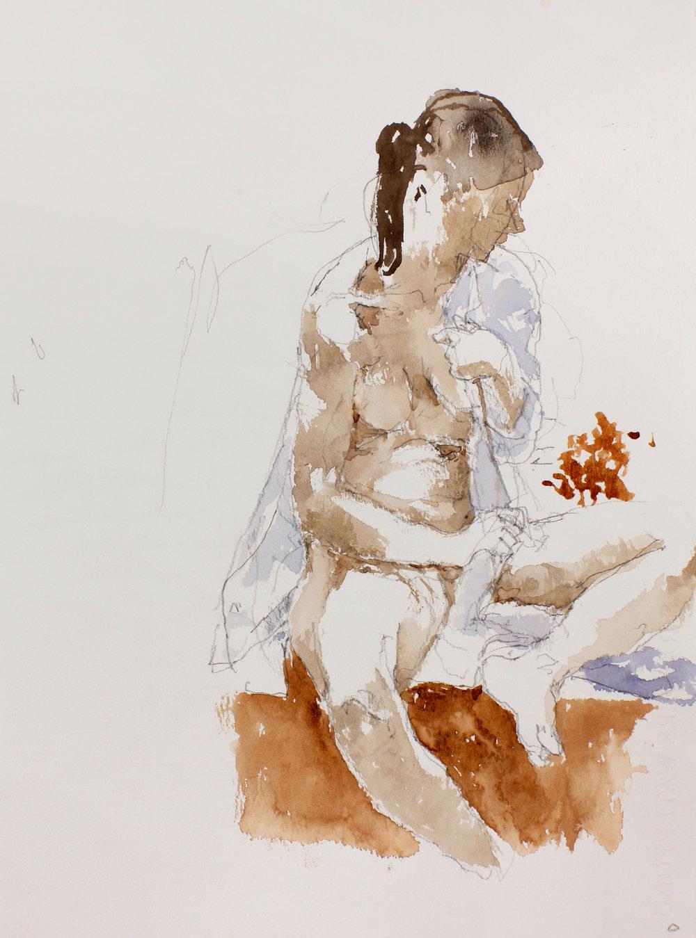 Seated Nude Adjusting Shirt