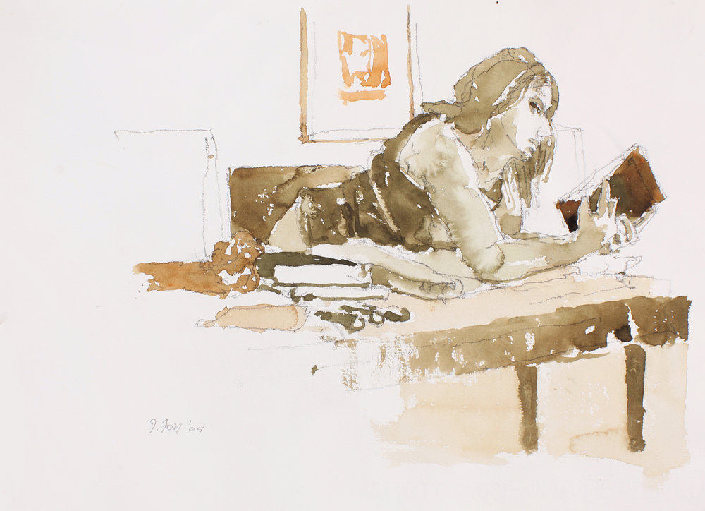 Female Figure Seated at a Table Holding Book