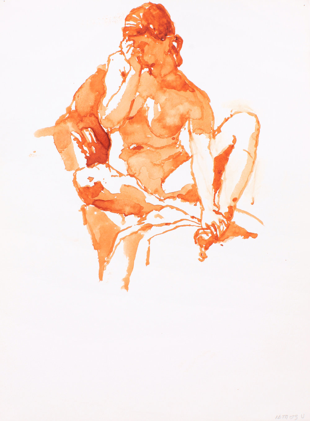 Seated Nude with Crossed Splayed Legs and Left Hand to Head